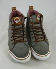 Vans Green Suede Hi Top Lace-up Shoes Off the Wall OTW Youth Boys 2 Sneakers