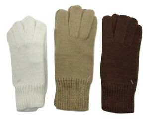Italian Wool Blend Winter Knitted Brown Beige Cream Knit Hand Gloves Soft Warm