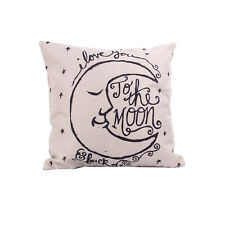 Hot Vintage I Love You to the Moon and Back Cotton Throw Pillow Cover Pillowcase
