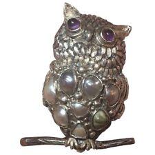 Vintage Carmen Beckmann Mexico Sterling Silver Amethyst & Pearl Owl Brooch