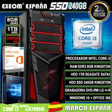 Ordenador Gaming Pc Sobremesa Intel Core i3 8GB 1TB SSD 240GB Windows 10 Office