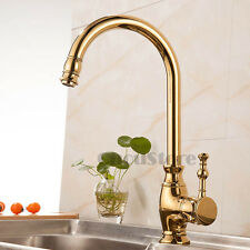 Gold Polished Brass Single Lever Kitchen Sink Faucet Vessel Mixer Swivel Tap