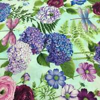 DragonFly Garden 2462-11 Sky Blue Hydrangea Bouquets Quilting Fabric BTY Cotton