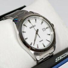 Seiko Men's Classic Stainless Steel White Dial Quartz Watch SUR205P1