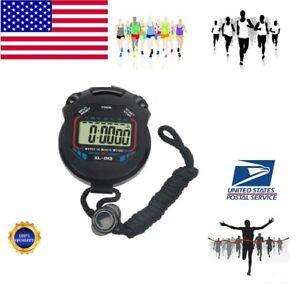 Digital Stopwatch Handheld Chronograph Sport Counter Lap Timer Running Watch