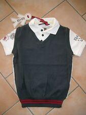 (C471) RARE-The Kid Boys Polo Shirt mit aufgenähtem Pulloverteil & Druck gr.116