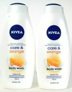 2 Bottles Nivea 25.36 Oz Care & Orange Blossom Perfume Bamboo Milk Body Wash