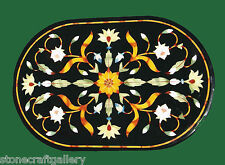 """36"""" x 24"""" Black Marble Coffee Table Top Inlay Handmade Work For Home Decor"""