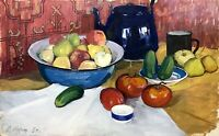 painting art social realism vintage still life old apple cucumber tomato decor