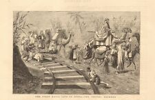 1880 ANTIQUE PRINT - SYRIA-FIRST RAILS LAID-THE TRIPOLI TRAMWAY