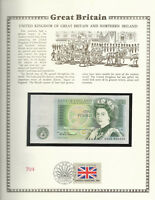 Great Britain 1 Pound 1978-84 P 377b UNC w/FDI UN FLAG STAMP Prefix AN05