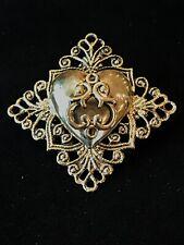 Brooch Scarf Lapel Pin Tie Tack Vintage Brass Ornate Heart Diamond Shaped