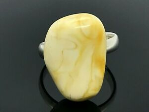 Amber RING LUXURY Yellow White Baltic Amber Bead Adjustable Silver 925 3,7g15765