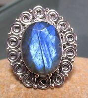 Sterling silver decorative cut labradorite stone ring UK O/US 7.25.