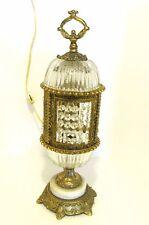 Vintage Hollywood Regency Table Lamp 1970's Crystal Prisms Boudoir L&L WMC