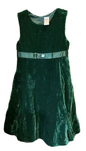 GYMBOREE Green Crushed Velvet Holiday Christmas Dress, Girl's US Size 8