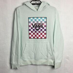 Vans Off The Wall Hoodie Sweatshirt Checker Logo Light Blue Skater Youth XL