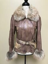 2 in 1 Natural Leather Snake Skin Combo Short Jacket Coat w Fox Fur Sz S Italy