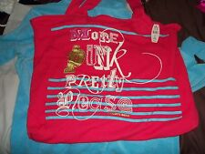 Victoria Secret PINK Thermal Knit bag BEACH tote  More Pink Pretty Please NOS