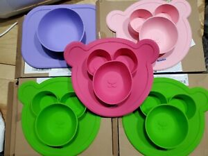 Lot of 5 - Amaziya Happy Mat Toddler Plate Divided Placemat BearryBowl silicone