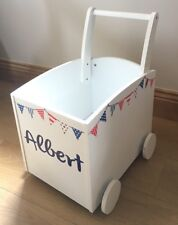 Boys Toy Box Push Along Trolley Red White Blue Bunting, Personalised