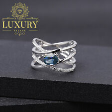 Natural London Blue Topaz Solid 925 Sterling Silver Handmade Criss Cross Rings