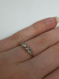 18 carat platinum Diamond Engagement Ring five row Yellow Gold Size K