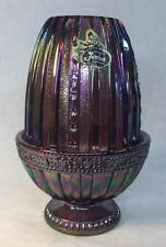 "Fenton Art Glass ""Faberge"" Two Piece Fairy Light Amethyst Carnival 1982"