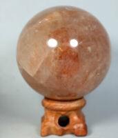 325g RED FIRE QUARTZ Hematoid Crystal Polished Palm Stone Ball Healing Stand