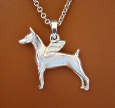 Large Sterling Silver Doberman Pincher With Cropped Ears Angel Pendant