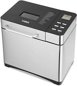 Tower T11005 Digital Bread Maker with Keep Warm Function, 650 W, Silver