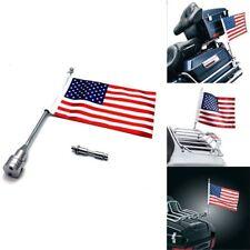 American US Flag Flag Pole Luggage Rack Rear Side Mount Silver Pole For Harley