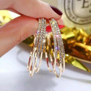 ON TREND Gold Rhinestone Crystal Three Circle Hoop Stud Fit Earrings