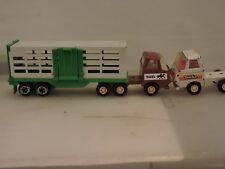 "Vintage 1970s Tonka 10"" In Long Semi Tractor Truck Horse Trailer + Second Semi"