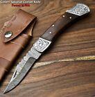Hand Made Damascus Steel Blade Back Lock Folding Knife   HARD WOOD