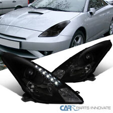 For Toyota 00-05 Celica Black LED DRL Smoke Lens Projector Headlights Left+Right