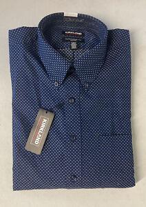KIRKLAND SIGNATURE Men's Dress Shirt 17 36/37 Textured NAVY Traditional Fit Non