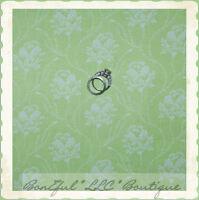 BonEful Fabric FQ Cotton Quilt VTG Green White Lace Sm Leaf Flower Floral Calico