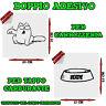 2x Sticker Adesivo Decal Gatto Ciotola Verde Benzina Rifornimento Tappo Auto