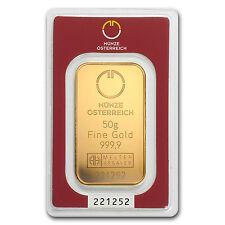 50 gram Austrian Mint Gold Bar - Austrian Mint - In Blister Pack - SKU #78379