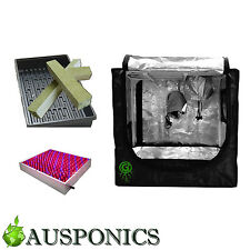 GREENROOTS GROW TENT + LED 225 + Water Tray + 75x75MM Rockwool Cubes Kit