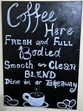 Original hand painted coffee cafe painting freshly ground arabica take away sign