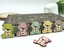 25pcs Wooden Plush bears Buttons Mixed color Sewing clothes scrapbooking 28mm