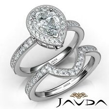 1.76Ct Halo Milgrain Bezel Bridal Pear Diamond Engagement Ring Gia G-Vvs2 W Gold