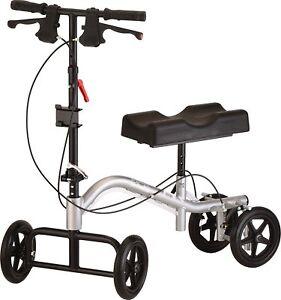 Nova TKW-12 400 lbs Turning Knee Crutch Walker Scooter Leg Caddy Metallic Silver