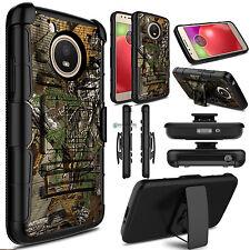 For Motorola Moto E4/E4 Plus Shockproof Hybrid Kickstand Clip Phone Case Cover