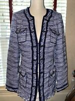 White House Black Market Blue Tweed Fringe Chain Longline Blazer Jacket Size 8
