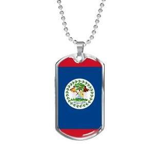 """Belize Flag Necklace Belize Flag Stainless Steel or 18k Gold Dog Tag 24"""""""