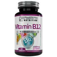 Vitamin B12 90 Tabletten je 1000mcg + 400mcg Folsäure Fat2Fit Nutrition