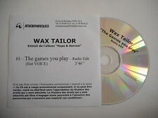 WAX TAILOR : THE GAMES YOU PLAY feat VOICE [ CD SINGLE ] ~ PORT GRATUIT !